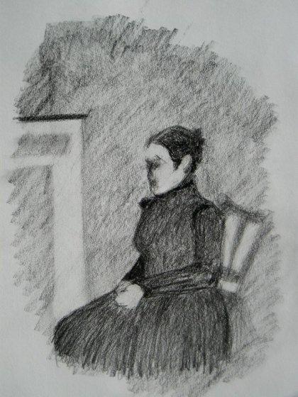 sketch of a women sitting