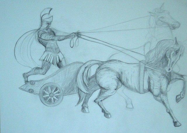 chariot & horses sketch