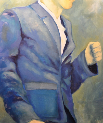 Man in blue suit, oil 2013
